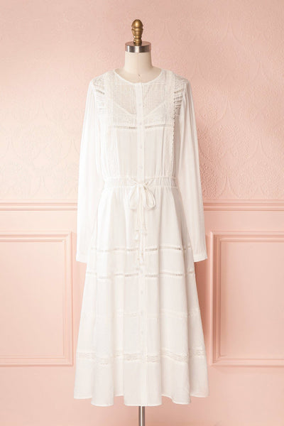 Tandice White Victorian Inspired Midi Dress | Boudoir 1861