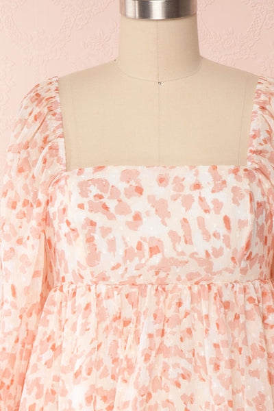 Taraneh White and Pink Short Chiffon Dress | Boutique 1861 front close up