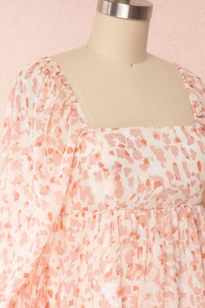 Taraneh White and Pink Short Chiffon Dress | Boutique 1861 side close up