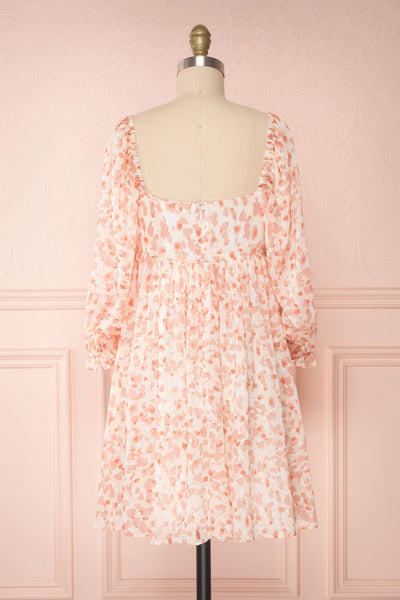 Taraneh White and Pink Short Chiffon Dress | Boutique 1861 back view