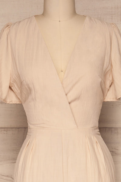 Tarja Sand Beige Short Sleeve Jumpsuit | La petite garçonne front close-up