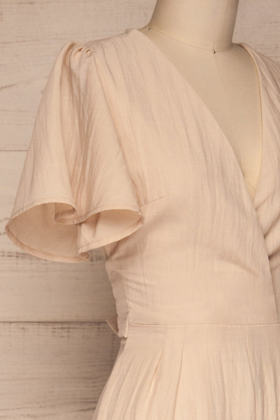 Tarja Sand Beige Short Sleeve Jumpsuit | La petite garçonne side close-up