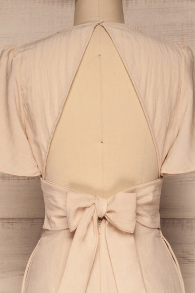 Tarja Sand Beige Short Sleeve Jumpsuit | La petite garçonne back close-up