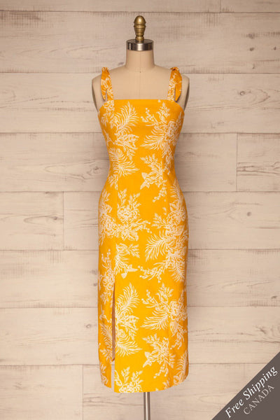 Tarouca Yellow Patterned Midi Dress | La petite garçonne free shipping
