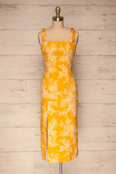 Tarouca Yellow Patterned Midi Dress | La petite garçonne front view