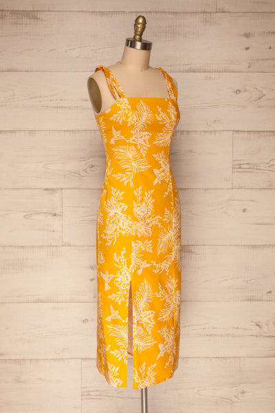 Tarouca Yellow Patterned Midi Dress | La petite garçonne side view