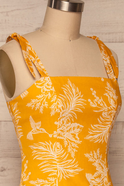Tarouca Yellow Patterned Midi Dress | La petite garçonne side close up
