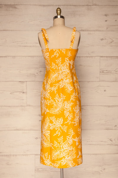 Tarouca Yellow Patterned Midi Dress | La petite garçonne back view