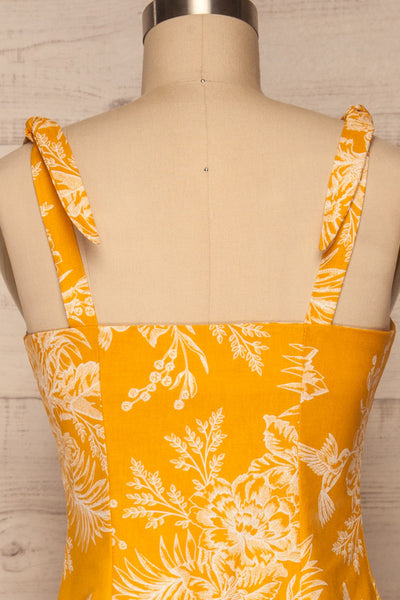 Tarouca Yellow Patterned Midi Dress | La petite garçonne back close up