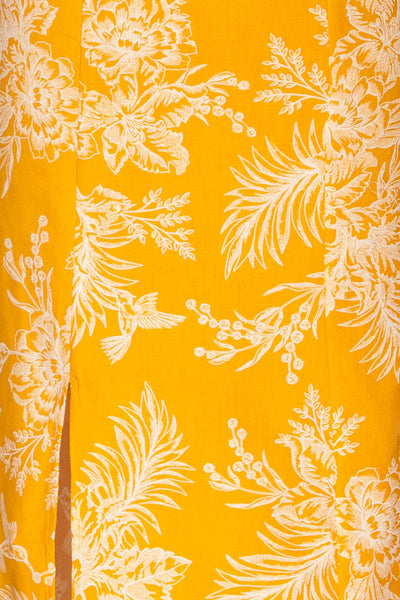 Tarouca Yellow Patterned Midi Dress | La petite garçonne fabric
