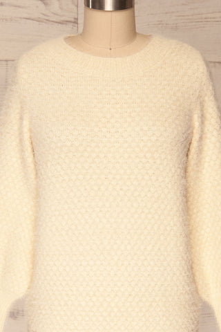 Tarsina Ivory Fuzzy Knit Sweater front close up | La Petite Garçonne