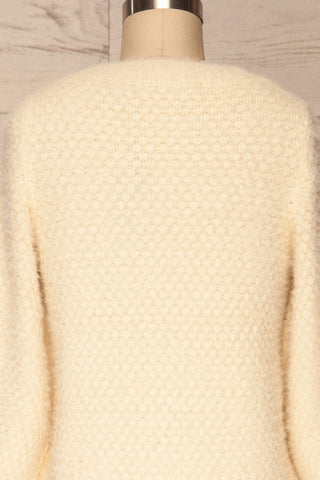 Tarsina Ivory Fuzzy Knit Sweater back close up | La Petite Garçonne