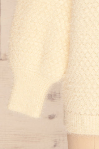 Tarsina Ivory Fuzzy Knit Sweater sleeve close up | La Petite Garçonne
