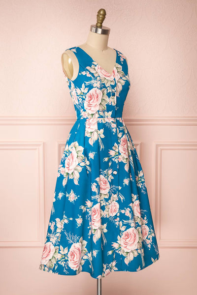 Taryn Blue Teal Floral A-Line Midi Dress side view | Boutique 1861
