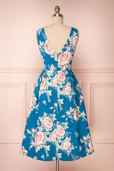 Taryn Blue Teal Floral A-Line Midi Dress back view | Boutique 1861