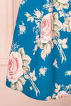 Taryn Blue Teal Floral A-Line Midi Dress skirt | Boutique 1861