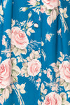 Taryn Blue Teal Floral A-Line Midi Dress fabric | Boutique 1861