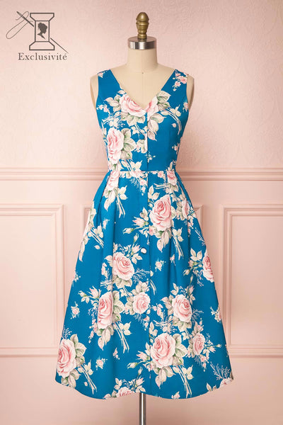Taryn Blue Teal Floral A-Line Midi Dress front view | Boutique 1861