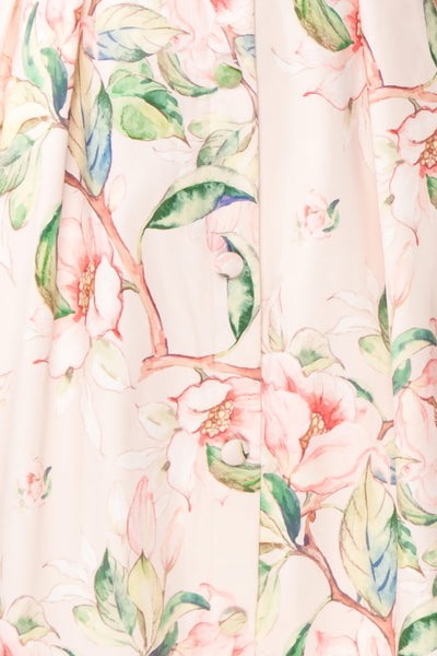 Taryn Pink Teal Floral A-Line Midi Dress fabric | Boutique 1861