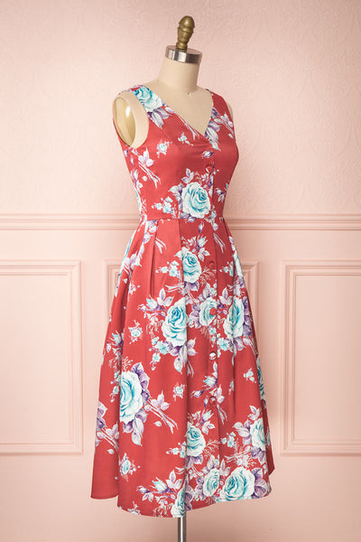 Taryn Red Teal Floral A-Line Midi Dress side view | Boutique 1861