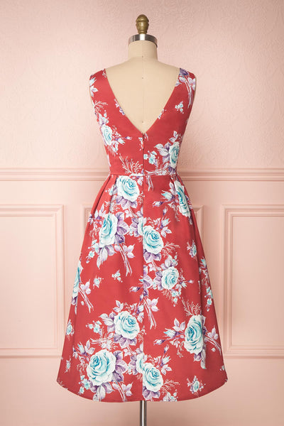Taryn Red Teal Floral A-Line Midi Dress back view | Boutique 1861