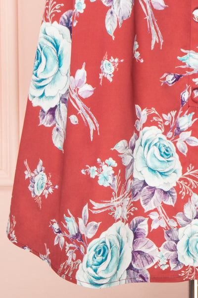 Taryn Red Teal Floral A-Line Midi Dress skirt | Boutique 1861
