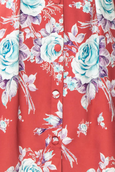 Taryn Red Teal Floral A-Line Midi Dress fabric | Boutique 1861