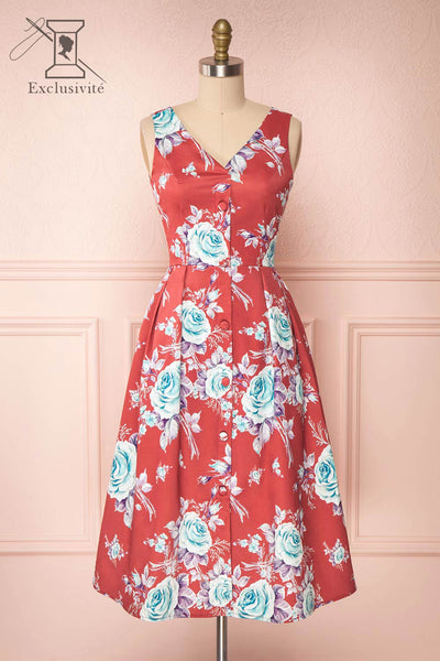 Taryn Red Teal Floral A-Line Midi Dress front view | Boutique 1861