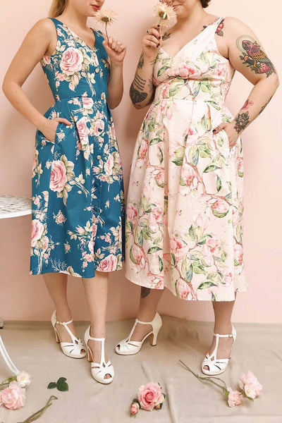 Taryn Pink Floral Print A-Line Midi Dress | Boutique 1861 on model