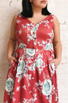 Taryn Red Floral Print A-Line Midi Dress | Boutique 1861 model close up1