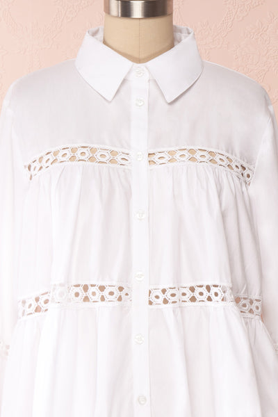 Tasmin White Oversized Openwork Shirt front close up | Boutique 1861