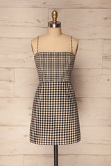 Taunoa Black & White Checkered Short Fitted Dress | Boutique 1861
