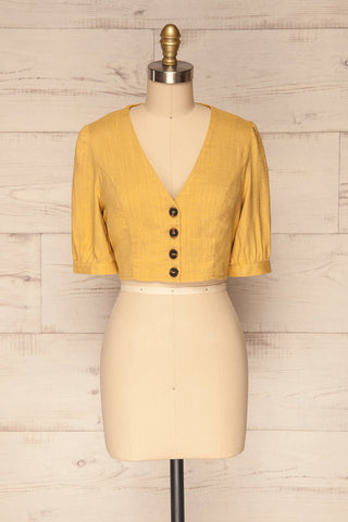 Tavey Sun Yellow Short Sleeved Cropped Shirt | La Petite Garçonne