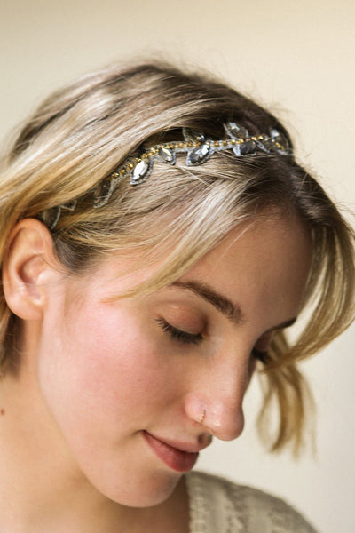 Taygete Headband with Blue & Golden Crystals | Boudoir 1861
