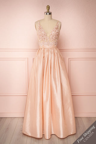 Tayma Light Pink Satin & Lace A-Line Gown | Boutique 1861