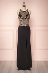 Teheura Black Mermaid Gown with Gold Sequins | Boutique 1861
