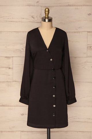 Telec Black Button-Up Satin Dress | La Petite Garçonne