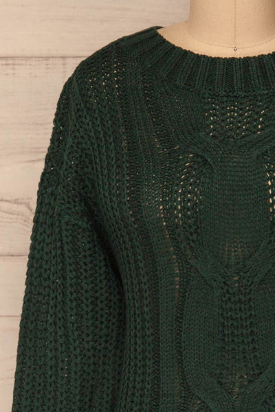 Temerin Pine Green Knit Sweater | Tricot | La Petite Garçonne front close-up