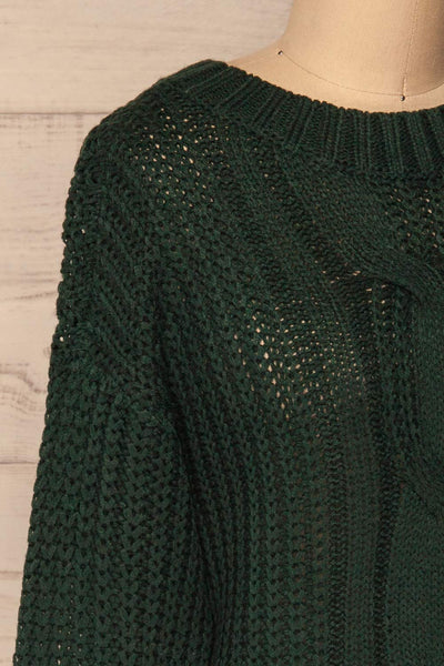 Temerin Pine Green Knit Sweater | Tricot | La Petite Garçonne side close-up