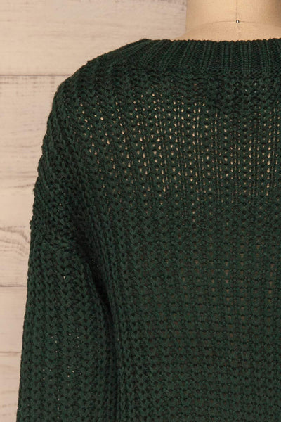 Temerin Pine Green Knit Sweater | Tricot | La Petite Garçonne back close-up