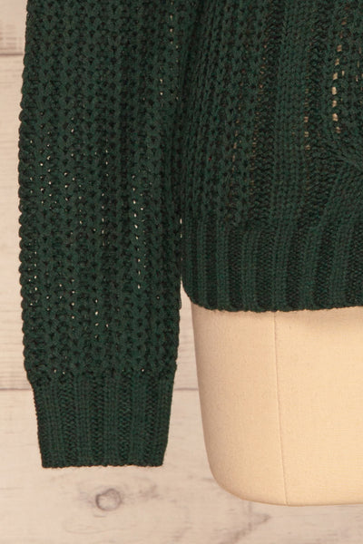 Temerin Pine Green Knit Sweater | Tricot | La Petite Garçonne bottom close-up