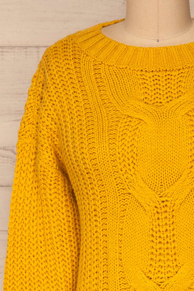 Temerin Sunflower Knit Sweater | Tricot | La Petite Garçonne front close-up