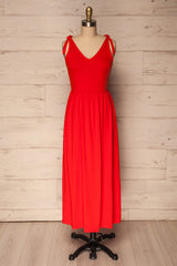 Terca Fire Red-Orange Jersey A-Line Midi Dress | La Petite Garçonne
