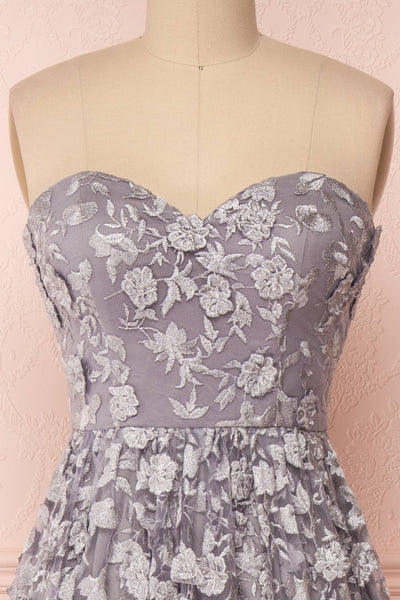 Terese Grey Floral A-Line Bustier Gown | Boutique 1861 front close-up