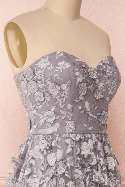Terese Grey Floral A-Line Bustier Gown | Boutique 1861 side close-up