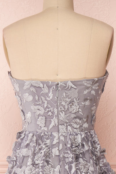 Terese Grey Floral A-Line Bustier Gown | Boutique 1861 back close-up