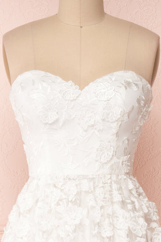 Terese White Floral A-Line Bustier Bridal Dress | Boudoir 1861 front close-up