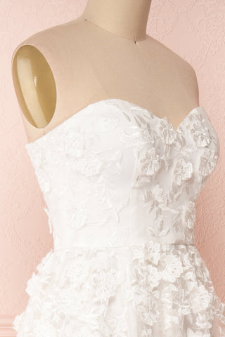 Terese White Floral A-Line Bustier Bridal Dress | Boudoir 1861 side close-up
