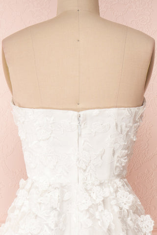 Terese White Floral A-Line Bustier Bridal Dress | Boudoir 1861 back close-up
