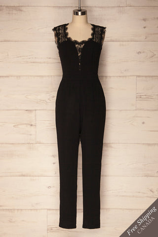 Terradura Black Fitted Jumpsuit with Lace | La Petite Garçonne